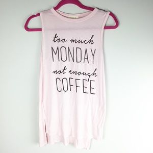 Ginger G pink graphic coffee tank top small